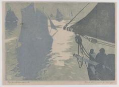 """Wimpelkette - Farbholzschnitt - Hans Neumann (1873 - 1957) """"Meeresruhe"""" 1903"""