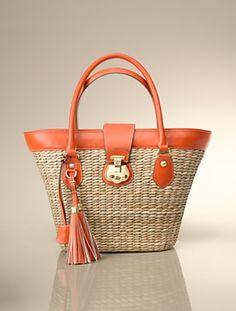 Beacon Hill Straw Tote -at Talbots Handbag Accessories, Fashion Accessories, Straw Tote, New Bag, Michael Kors Hamilton, Tote Handbags, Beacon Hill, Talbots, Creations