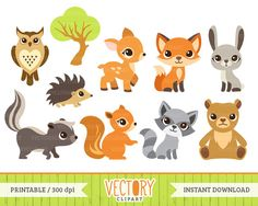 10 Woodland Animal Clipart Forest Animals Animal by VectoryClipart