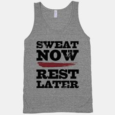 Nothing was ever achieved at the gym without a bit of perspiration, so show the rest of the fitness fools that you mean business with your Sweat Now, Rest Later athletic grey tank! #tee #tank #athletic #sweat #rest #fitspo #fitspiration #vintage #gym #fitness #workout #exercise