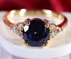 Gorgeous Hallmarked Blue Sapphire; 18K Yellow Gold Plated | #acessórios #accessories #ring #anel