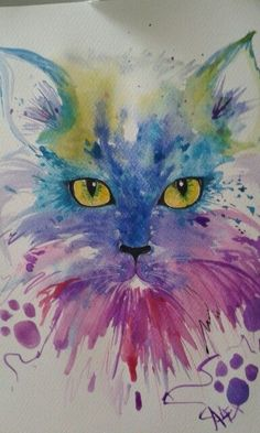 Miao by loretta - cats - Katzen Watercolor Cat, Watercolor Animals, Watercolor Paintings, Cat Drawing, Painting & Drawing, Animal Paintings, Animal Drawings, Tableau Pop Art, Cat Colors