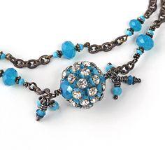 Swarovski Crystal Statement Bracelet Vintage Swarovski Rhinestone Rondelle Turquoise Crystals Pearl Antique Brass Bronze OOAK Reduced by 25%