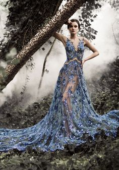 2015 AW Couture | Paolo Sebastian - Beautiful embroidered blue and mesh panelled couture gown #redcarpet...x