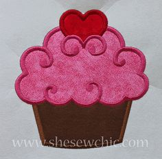 Cupcake with Heart Applique Machine Embroidery by SheSewChic, $4.00