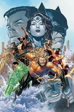 Aquaman and the Justice League by Jim Cheung Marvel Dc Comics, Dc Comics Art, Comic Book Covers, Comic Books Art, Comic Art, Justice League Comics, Midtown Comics, Univers Dc, Comic Kunst