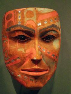 a striking Tsimshian mask with shell inlay (circa 1800-1850),