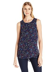 BCBGeneration Womens Sleeveless Twist Back Top Stormy Sky Multi XSmall -- Want additional info? Click on the image.