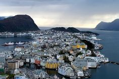 View of Ålesund from Aksla Viewpoint in Norway
