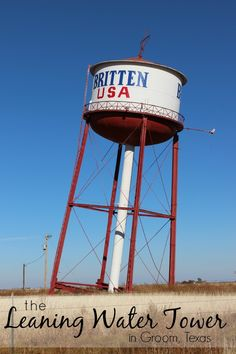 The Leaning Water Tower roadside attraction along Route 66 sits along I-40 as you head through Groom, Texas.