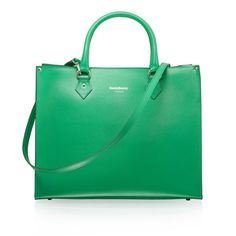 RUSSELL & BROMLEY | Lola structured tote in green | Black calf | Double top handle straps. Detachable shoulder strap. Gold hardware. Zip closure. Metal feet on base. Made in Italy | Height: 29cm, Width: 35cm, Depth: 13cm.  Handle drop: 12cm | £225