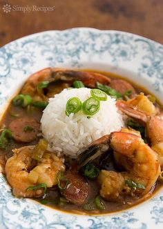 Shrimp and Andouille Sausage Gumbo. Traditional gumbo with no tomatoes or okra, a tad spicy with the andouille and seasoning, but amazing flavor. Gives very good instructions on making the roux, which is the key part of a good gumbo. I modified the recipe a bit by decreasing the amount of Cajun seasoning and I also browned the sausage before adding to the gumbo.