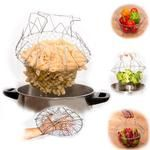 Stainless Steel Foldable Basket Fried Potato Chips Strainer Outdoor BBQ Picnic S Hasselback Potatoes, Fried Potatoes, Fried Potato Chips, Spiral Cutter, Shish Kabobs, Baking Tools, Bbq Grill, Outdoor Cooking, Fries