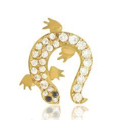 Bijou piercing de nombril salamandre en or jaune 18 carats pavé de multiples brillants.