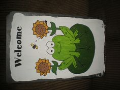 Frog with sunflowers hand painted slate  www.facebook.com/cleanslatedesignsbyalicia  www.clean-slatedesign.com