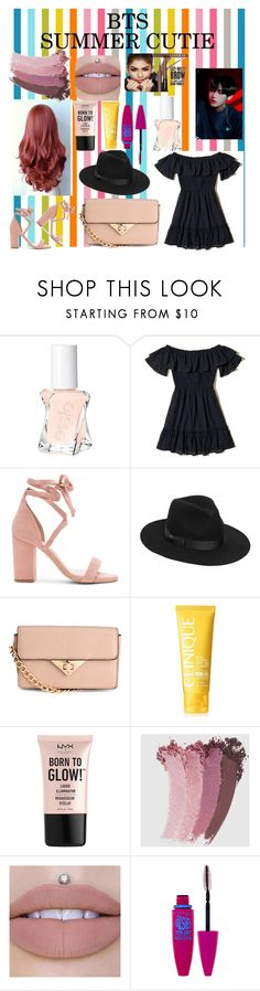 """""""BTS summer look"""" by lauralydix ❤ liked on Polyvore featuring Essie, Hollister Co., Raye, Lack of Color, Clinique, NYX, Gucci and Maybelline"""