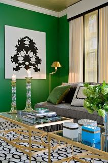 Green is always a great choice with mixed with black and white