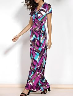 #SammyDress - #Rosewholesale Argyle Printed Short Sleeve Belted Maxi Dress - AdoreWe.com