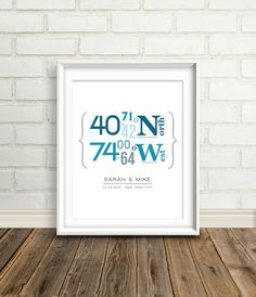 Personalized Latitude and Longitude Coordinates : Custom Location Wedding Print - 8x10 / Housewarming Gift - Bridal Shower. $27.00, via Etsy.