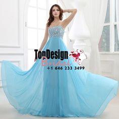 Wholesale Vestidos De Fiesta 2017 Brand New Evening Party Gown Rhinestone Blue Chiffon Prom Dresses