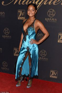 Busty Christina Milian stuns in racy negligee dress Blue Satin Dress, Silky Dress, Satin Dresses, Sexy Dresses, Olivia De Havilland, Christina Milian, Hollywood Pictures, Ootd, Satin Blouses