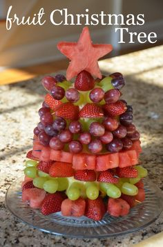Fruit Christmas Tree Tutorial - easy, healthy and delish holiday party food idea!