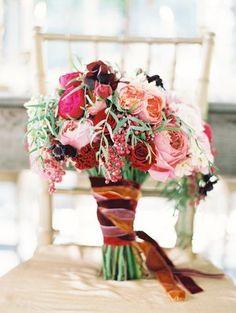 Wedding, Pink, Red, Bouquet, Ribbon, Chair, Chiavari, Peach, Crimson, Velvet, Love poems styled wedding, Midori