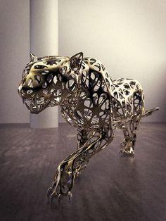 Best Cats sculptures : Stainless Steel by Sebastian Novaky titled: 'Leopard (Lifesize stainless Steel Wire statue)'. Welding Art Projects, Metal Art Projects, Small Sculptures, Animal Sculptures, Steel Sculpture, Lion Sculpture, Statues For Sale, Scale Art, Scrap Metal Art
