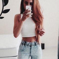 blonde hair, crop top, fashion, fashionista, girl, highwaisted, jeans, long…