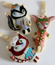 Reminiscent of retro 1960s handcrafted, felt ornaments.