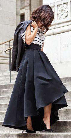 #fall #fashion / stripes + black skirt