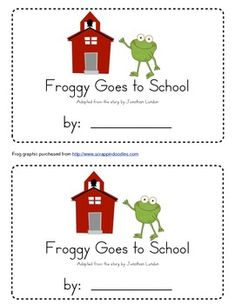"""This emergent reader can be used with Jonathan London's book """"Froggy Goes to School."""" It has a two copies of each page on a sheet so that it can be split into two books.This work is licensed under a Creative Commons Attribution-NonCommercial-NoDerivs 3.0 Unported License."""