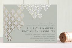 Foiled Arabesque Foil-Pressed Wedding Invitations by Vellum and Vogue at minted.com