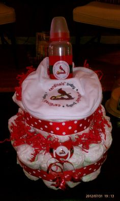 #STL Cardinals diaper cake. I love making diaper cakes for baby showers, how cute would this one be for the baseball baby to be!