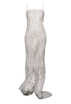 "Brides.com: Wedding Dresses for Petite Figures. ""Venice"" ivory silk charmeuse column wedding dress with elaborately beaded tulle overlay, Rivini  Try on this dress in our Virtual Dressing Room."