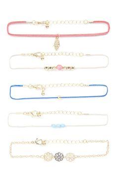 Lot de 5bracelets de l'amitié ornés de breloques et perles