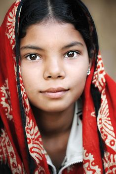 Young Lady in Red, Bangladesh, David Lazar