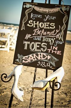 Great beach wedding sign