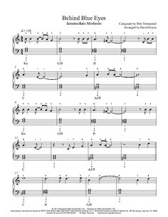 Behind Blue Eyes by The Who Piano Sheet Music | Intermediate Level