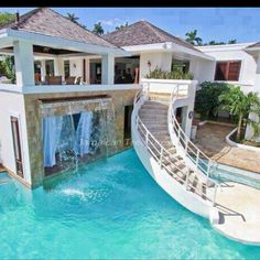 Stairs from house to pool. I'd rather a slide from the house to the pool. Chalet Modern, Future House, Beautiful Homes, Beautiful Places, Beautiful Dream, Beautiful Stairs, Absolutely Gorgeous, Hello Beautiful, Dream Pools