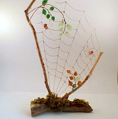 New Handmade Fall Driftwood Spider Web With by SpiderwoodHollow, $75.00