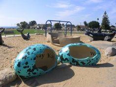 playground Preschool Playground, Dog Playground, Playground Design, Pismo Beach California, Dinosaur Park, Dinosaur Eggs, Dog Kennel Designs, Avila Beach, San Luis Obispo County