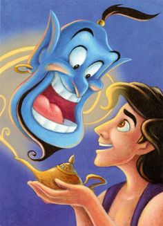 Aladdin and Genie -- Just when Aladdin needs help the most, he discovers a battered lamp that reveals a wisecracking, wish-granting genie. Genie can work many wonders, but his actions prove that sometimes a true-blue friend is all the magic we need.