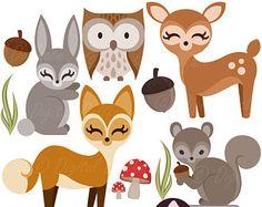 Clipart Clipart animaux forêt des bois, Owl, Deer, Fox, écureuil, lapin, amis de la créature