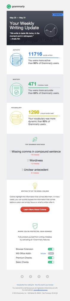 Grammarly Weekly Progress Report & Tips - Really Good Emails Edm Template, Email Template Design, Email Templates, Layout Template, Design Templates, Newsletter Format, Newsletter Design, E-mail Design, Design Ideas