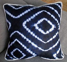 20 x 20 in. Pillow - West African resist dyed fabric - BEACH pattern - blue and white. $75.00, via Etsy. #African #Cushion