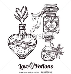 Love potions: hand drawn magic elegant bottles. Beautiful Set. Love and magic collection. Vintage style.  Isolated vector illustration.