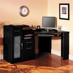 Furniture Office Design Sleek Furniture Corner Computer Desk With Corner Desk With Hutch And Dark Wooden Cabinet For Home Office Wayfair Decorating Interesting Corner Desk With Hutch For Modern Home Black Corner Computer Desk, Corner Desk With Hutch, Desk With File Drawer, Computer Desks For Home, Home Desk, Black Desk, Modern Home Office Furniture, Office Furniture Design, Home Office Design