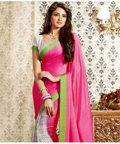 Crepe Saree with Blouse | I found an amazing deal at fashionandyou.com and I bet you'll love it too. Check it out!