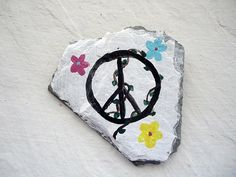 Refrigerator magnet Peace sign with vines and flowers by kpdreams